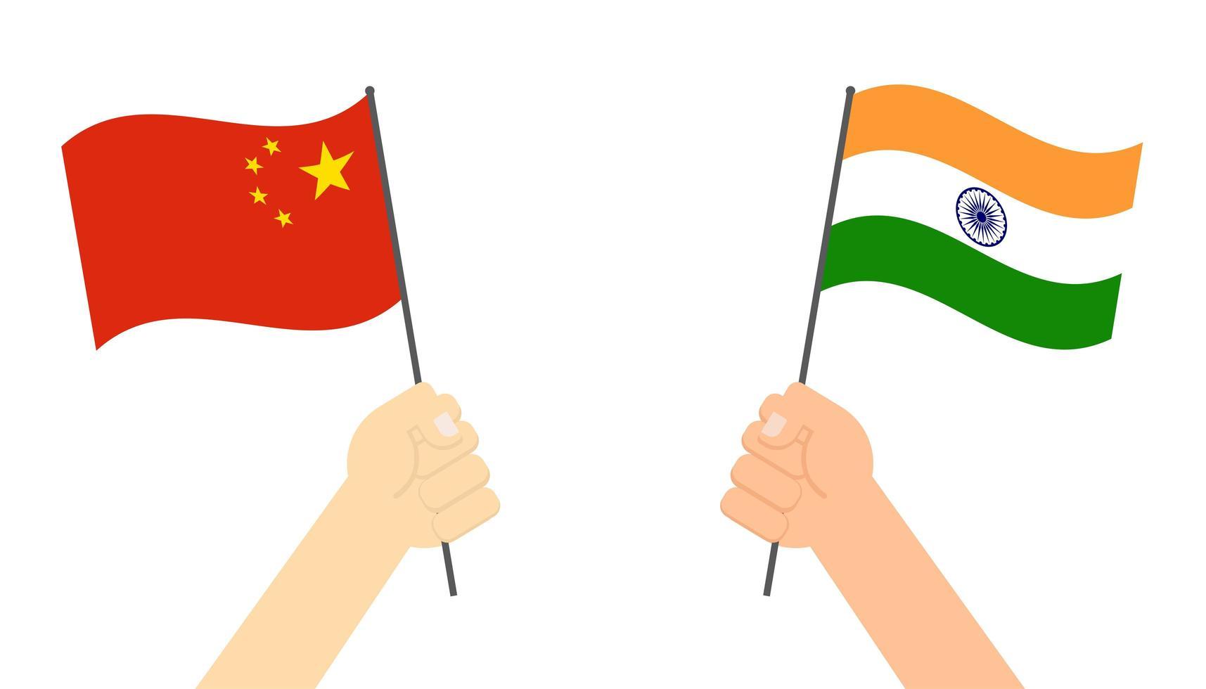 manos sosteniendo banderas de india y china vector