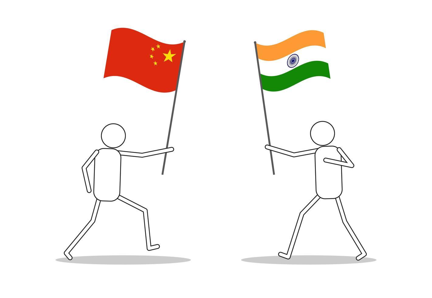 figuras de palo con banderas de india y china vector