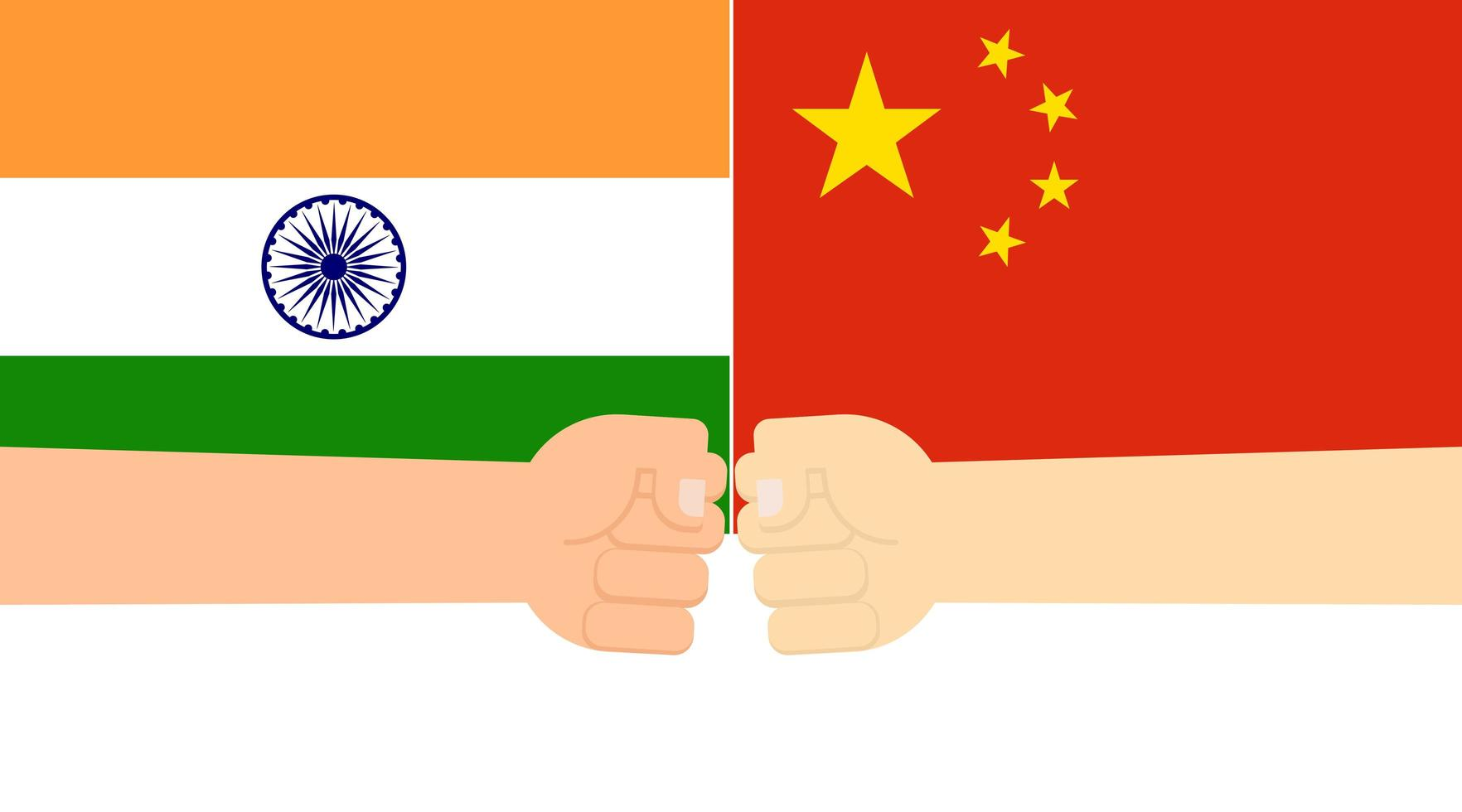 puño manos en banderas de india y china vector