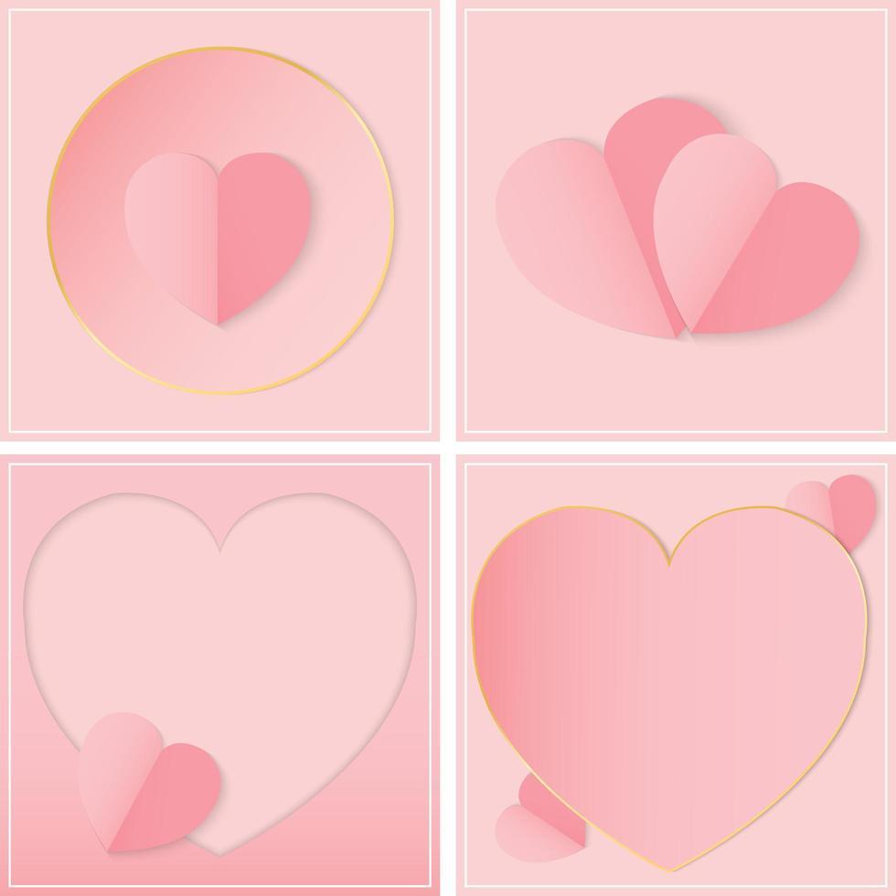 Papierschnitt rosa Herzkarten und Rahmen vektor
