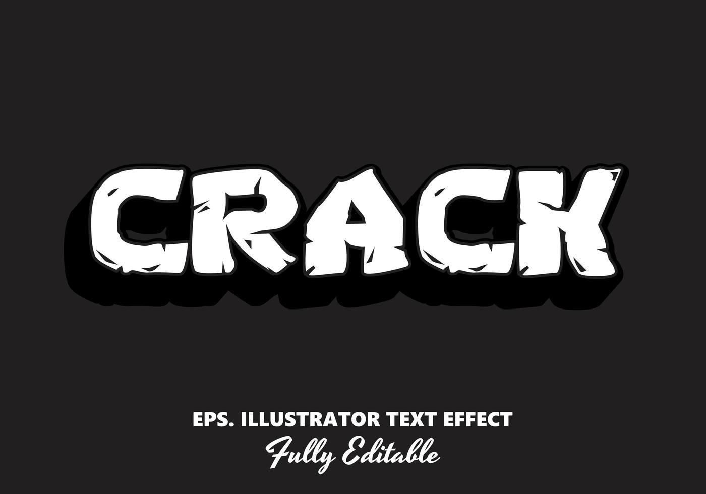 crack effet de texte modifiable ombre blanche et noire vecteur