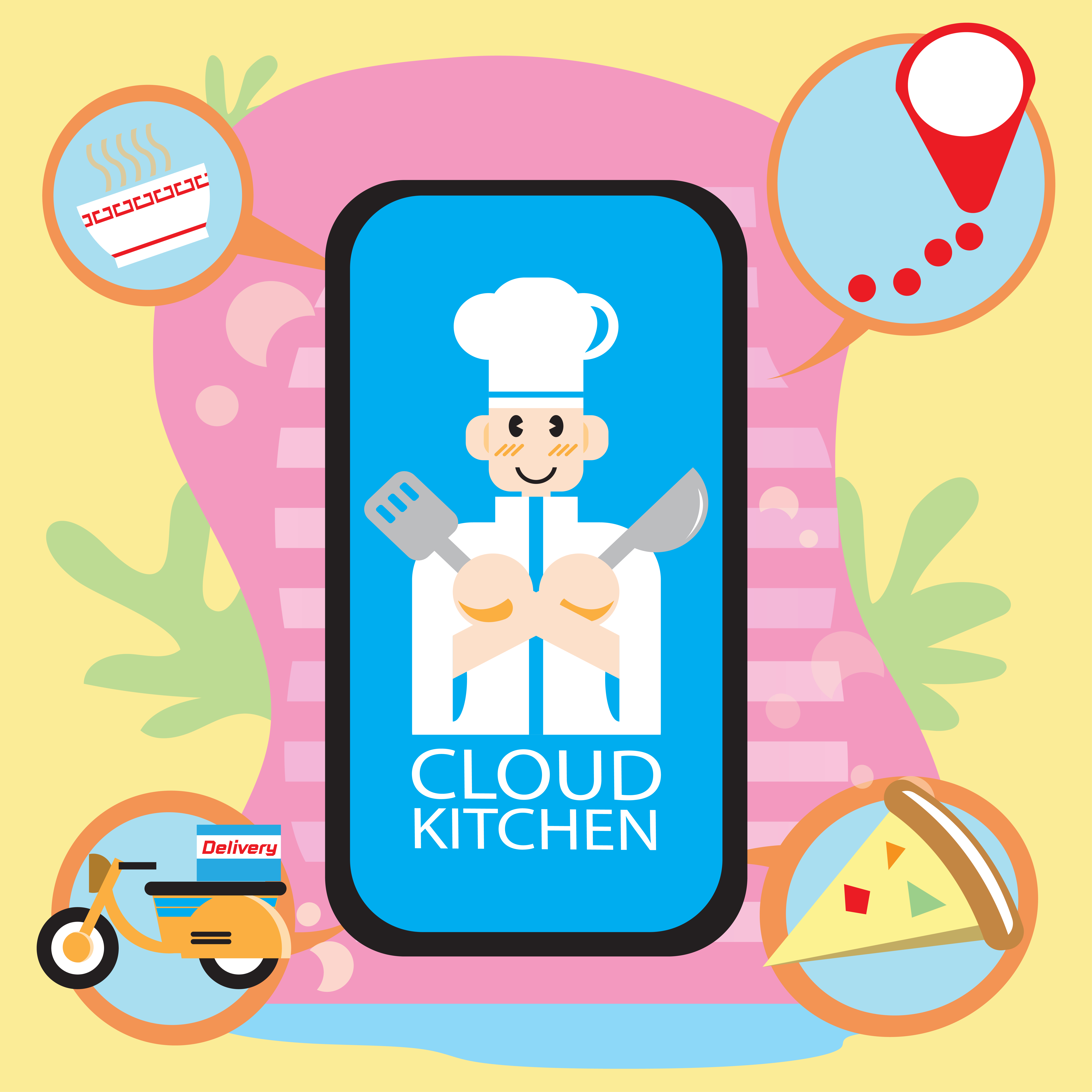 Cloud Kitchen App For Food Delivery Concept 1212783 Vector Art At Vecteezy