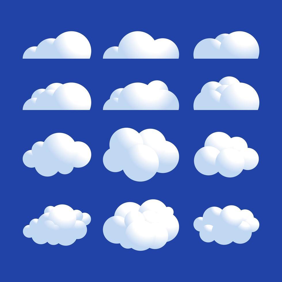 jeu d'icônes de nuage réaliste moelleux vecteur