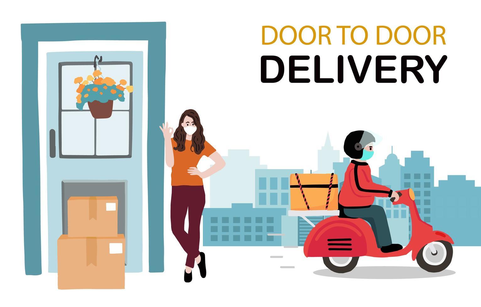 diseño de servicio de entrega puerta a puerta sin contacto vector