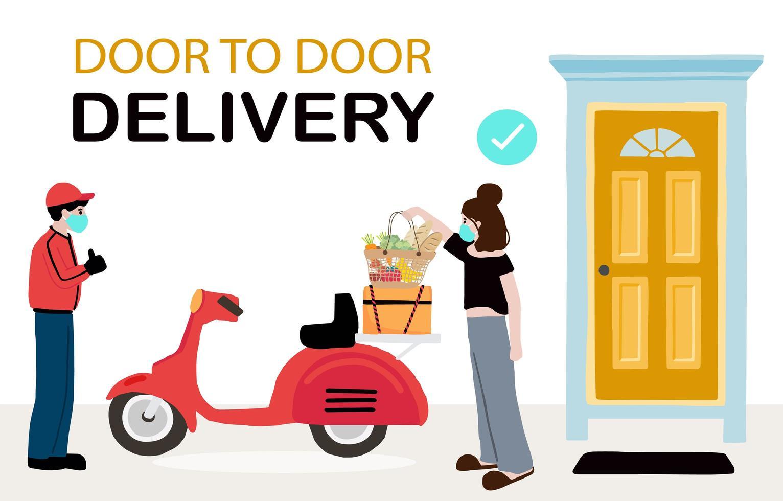 servicio sin contacto de entrega en línea para el diseño del hogar vector