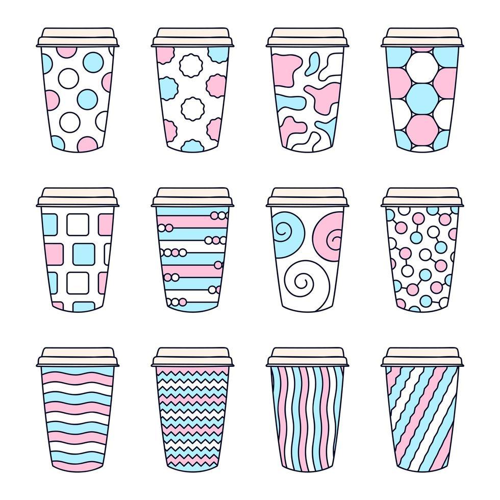 juego de 12 tazas de café estampadas con tapa vector
