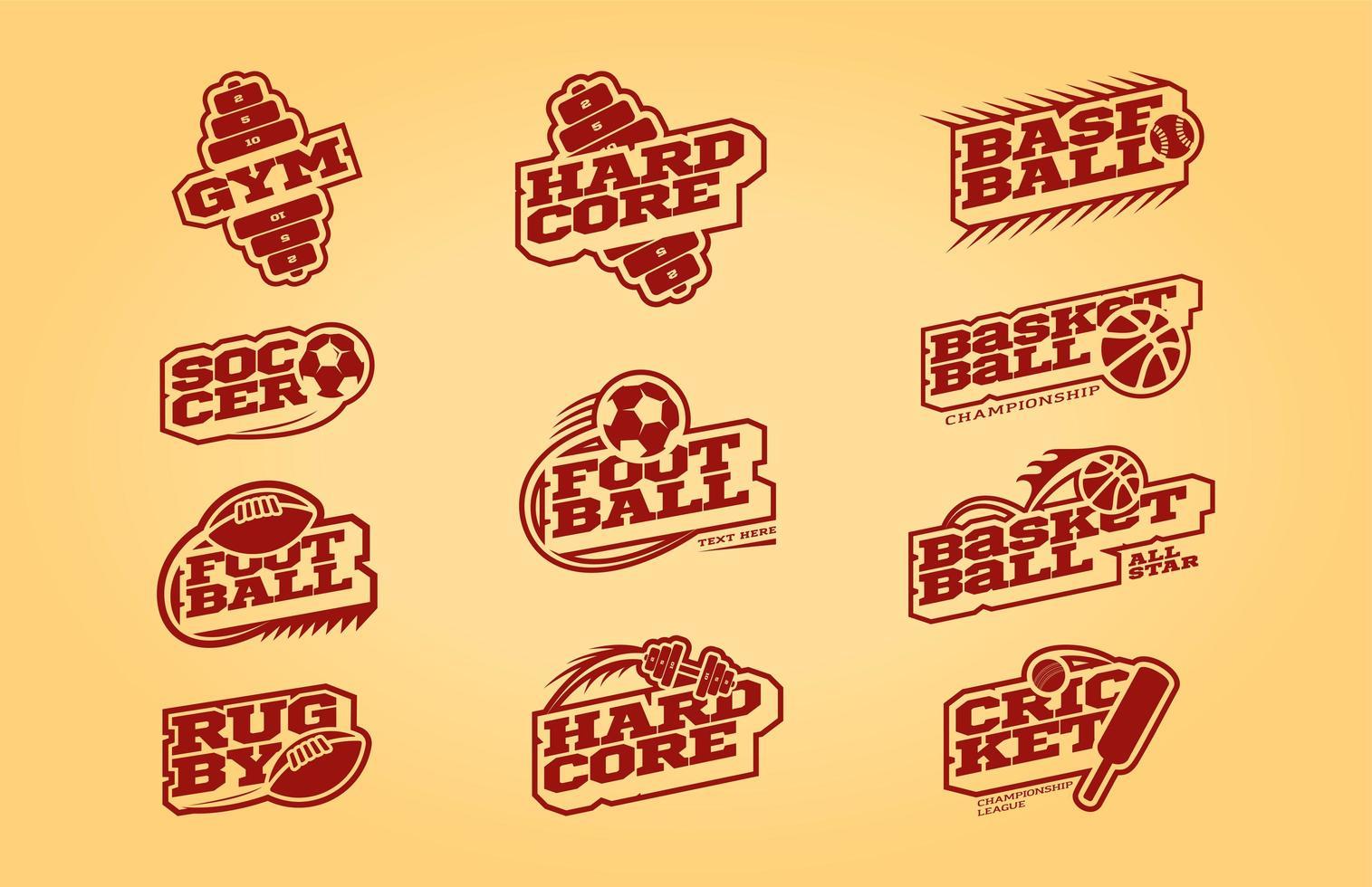conjunto de logotipo de deporte de estilo retro monocromo vector