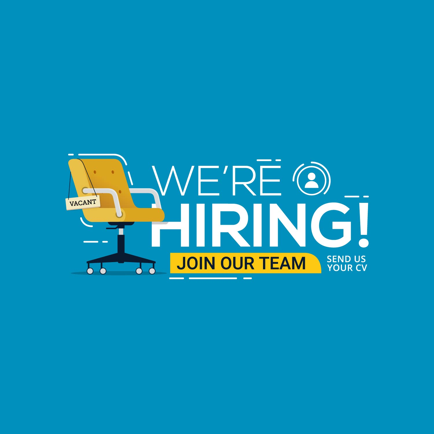 We're hiring with office chair and vacant sign 1213015 Vector Art at Vecteezy