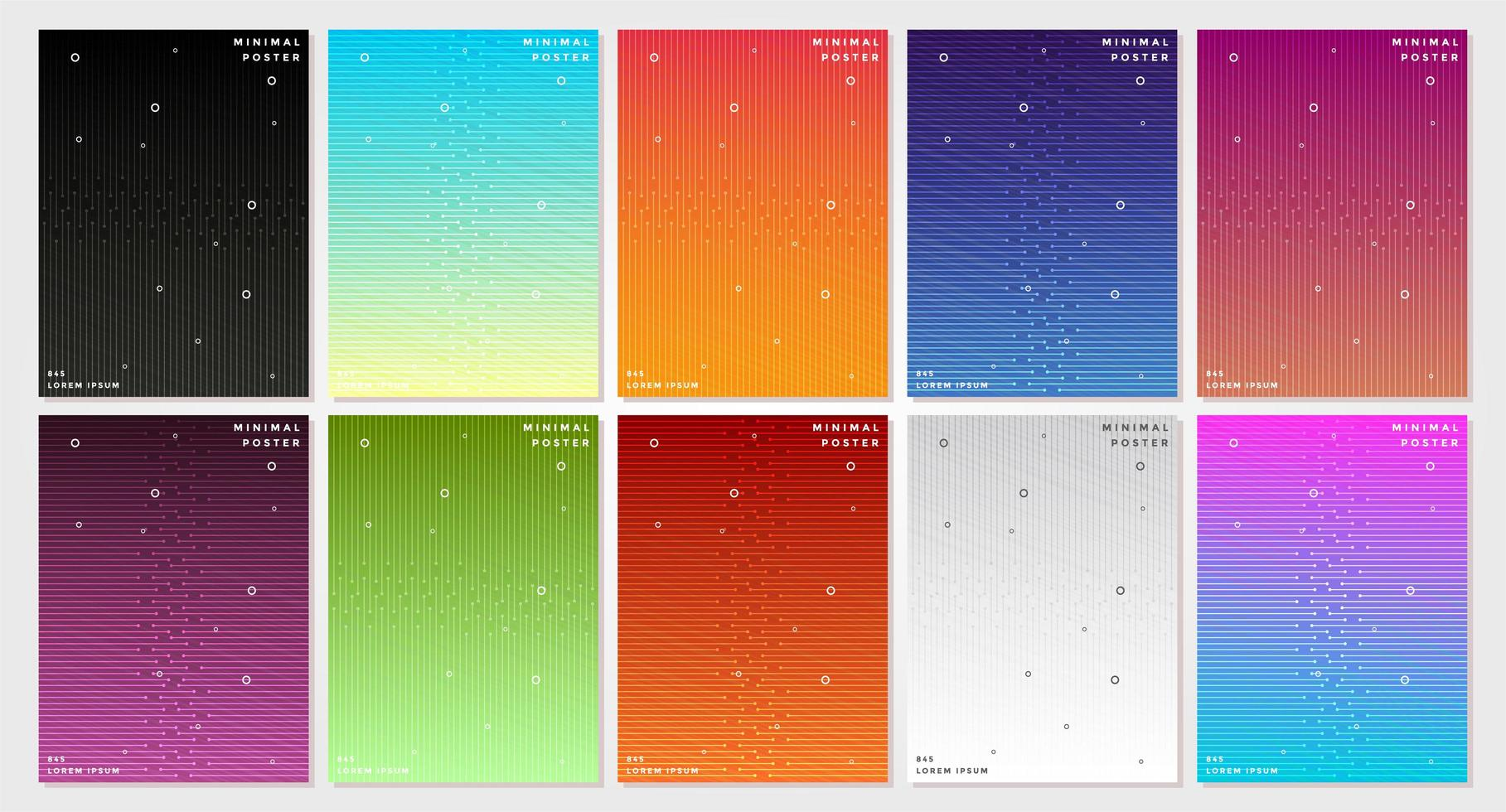 Abstract Colorful Interlocking Lines Covers Set vector