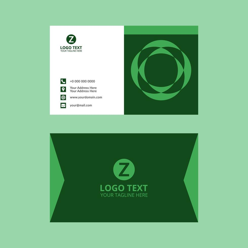 Green Floral Circle Business Card vector