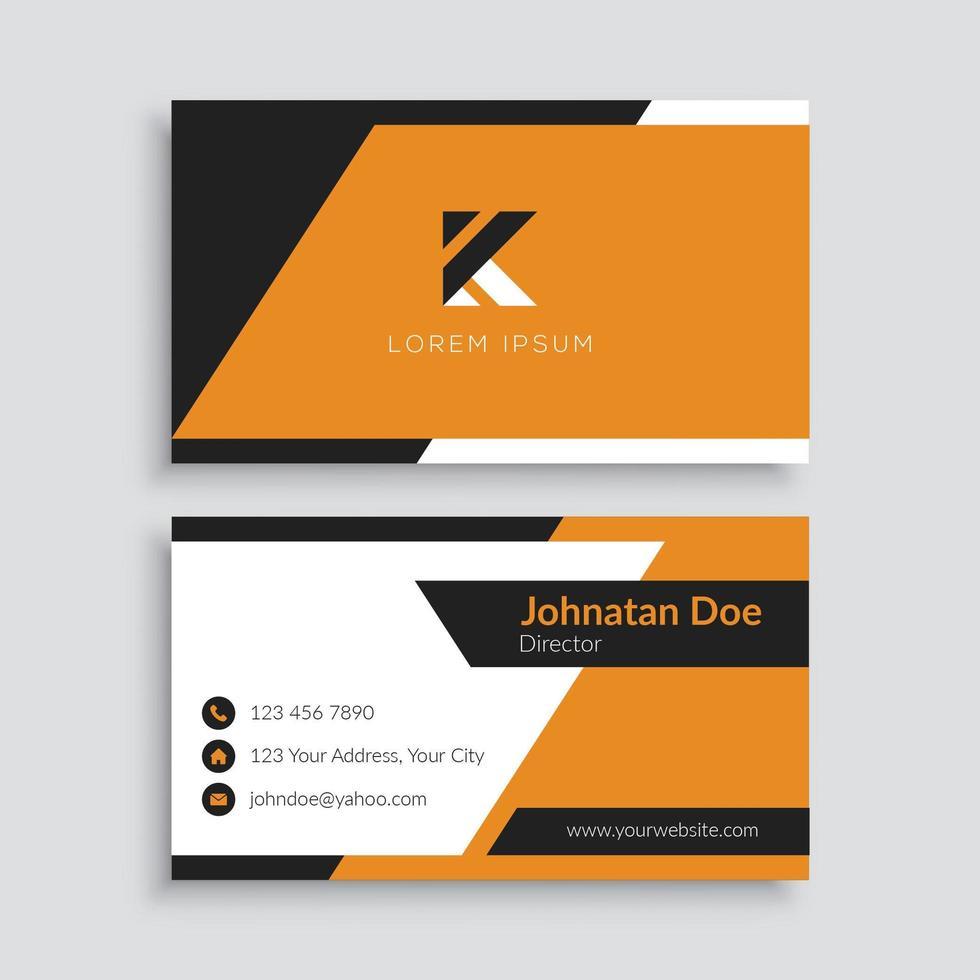 plantilla de tarjeta de visita moderna negra y naranja vector