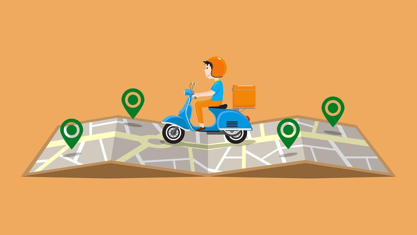 repartidor en scooter montando en el mapa con alfileres vector
