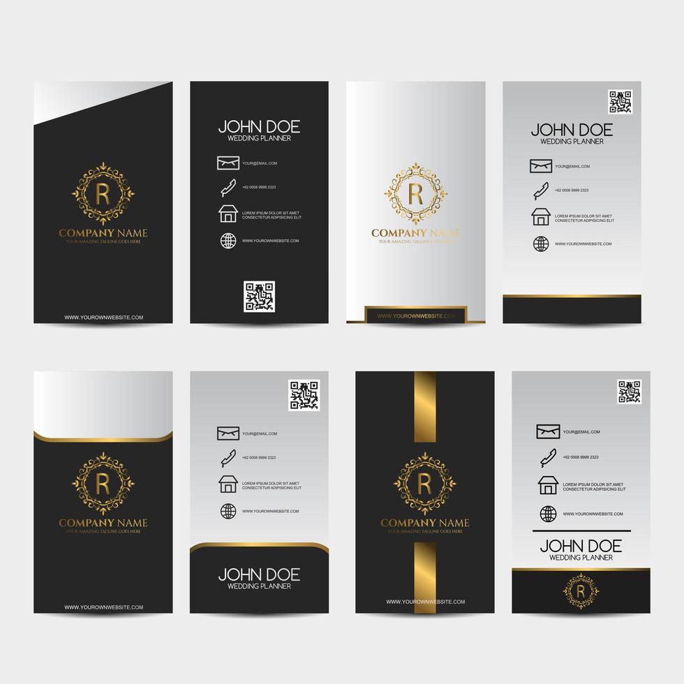 Black, gold and white premium business card set vector