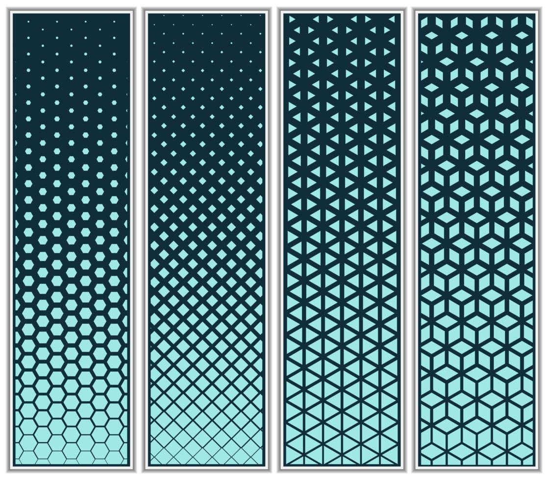 conjunto de padrão de cubo, triângulo, diamante e hexágono de meio-tom vetor