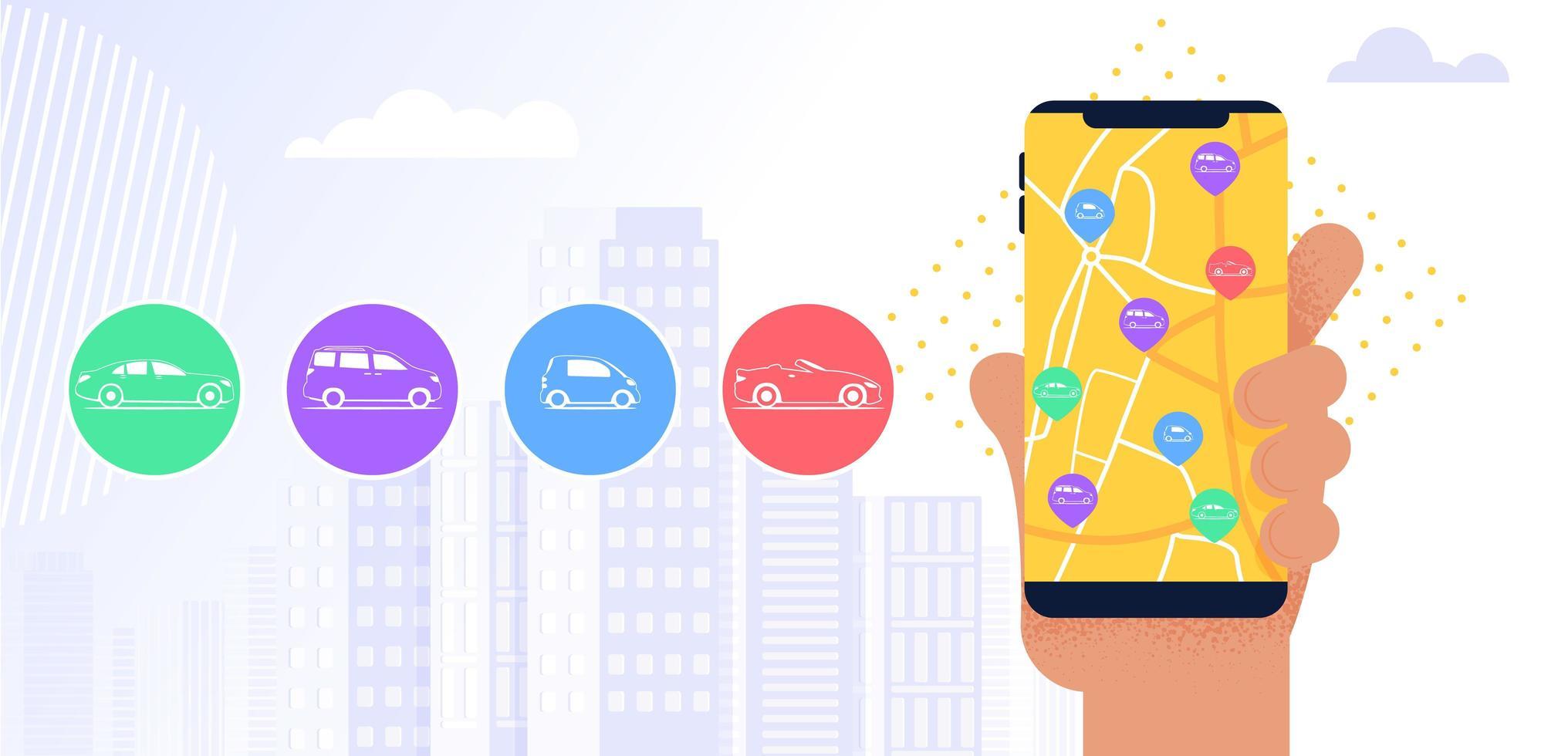 aplicación móvil del servicio carsharing vector