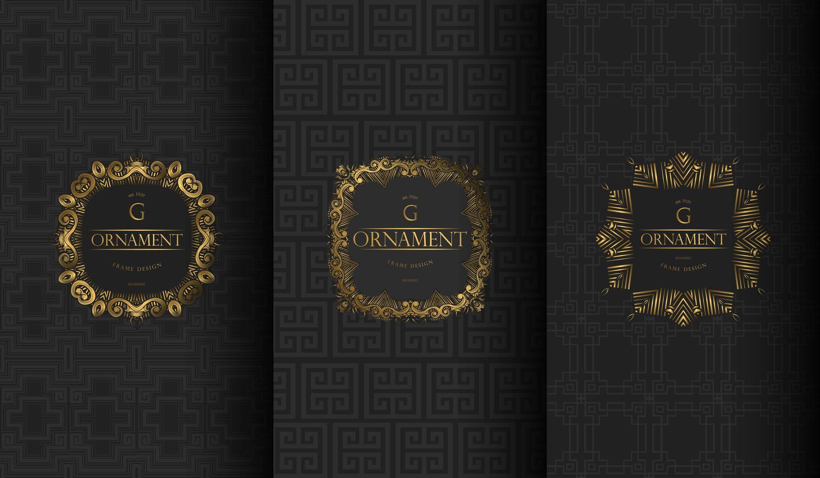 conjunto de patrones de lujo vintage negro y gris vector