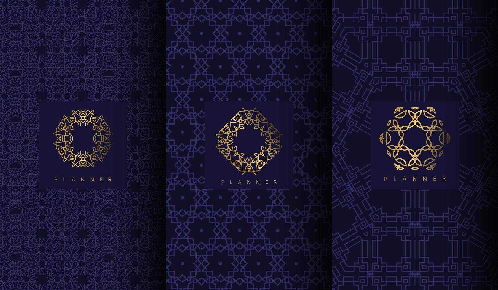conjunto de patrones azules de lujo con adornos geométricos de oro vector