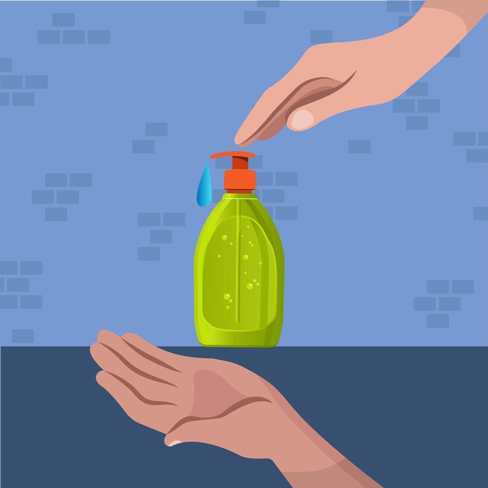 was uw handen met handdesinfecterend ontwerp vector