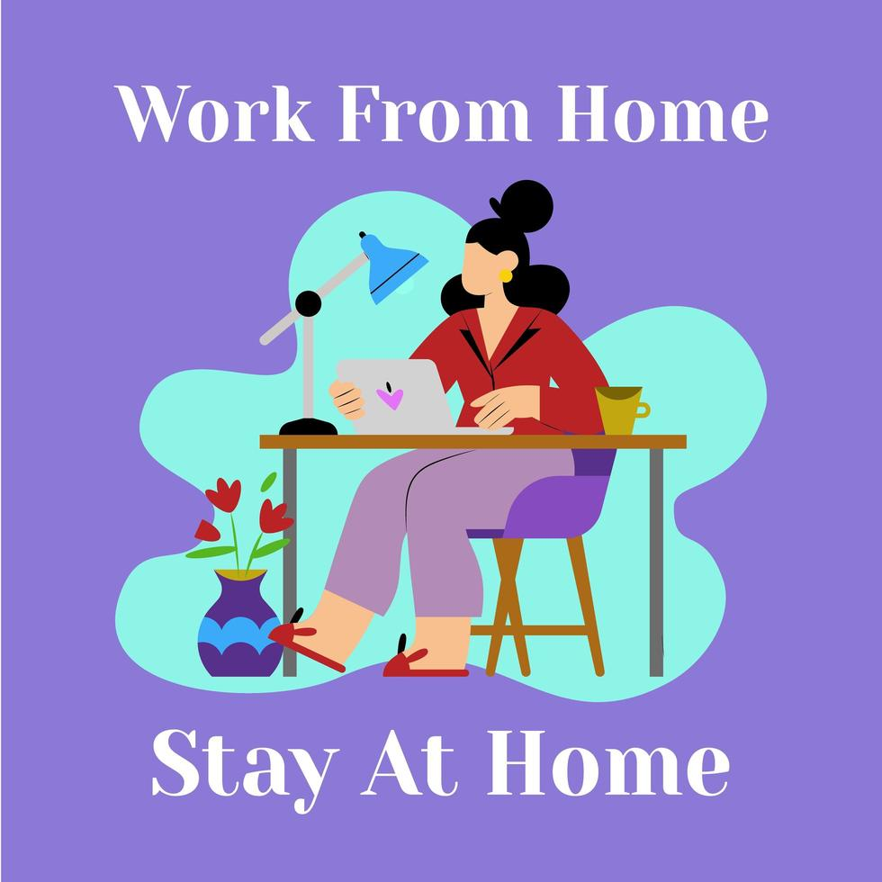 mujer trabaja desde su casa en la computadora portátil vector
