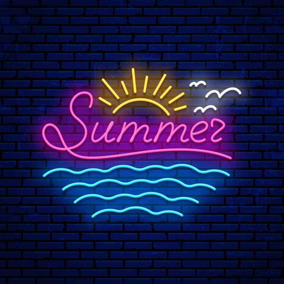neon zomer teken vector