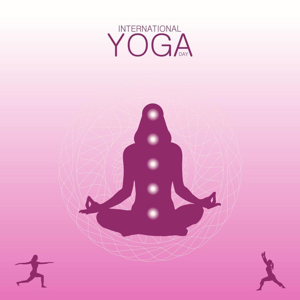 roze verloop internationale yoga dag poster vector