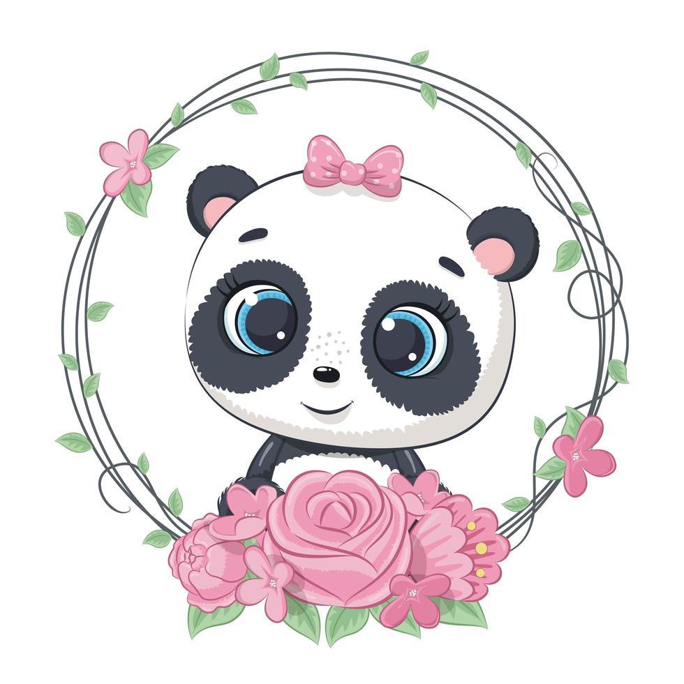 mignon bébé panda d'été avec une couronne de fleurs. vecteur