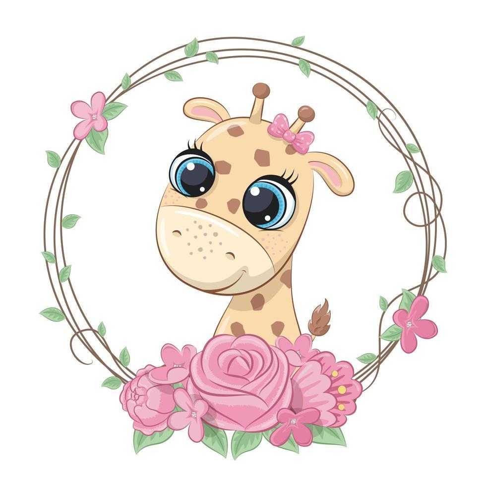 girafe bébé mignon avec couronne de fleurs vecteur