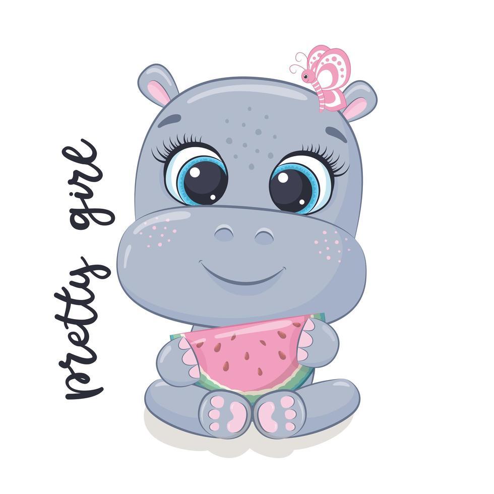 schattige baby nijlpaard vector