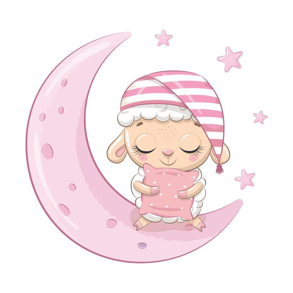 moutons bébé mignon assis sur la lune. vecteur