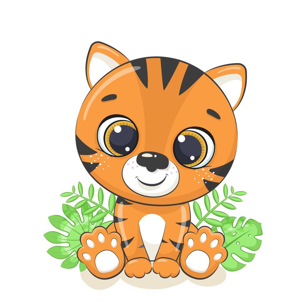 tigre de bebê fofo vetor