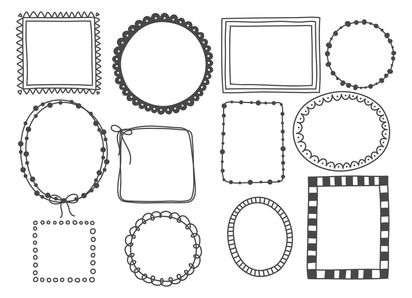 hand getrokken set doodle frame vector