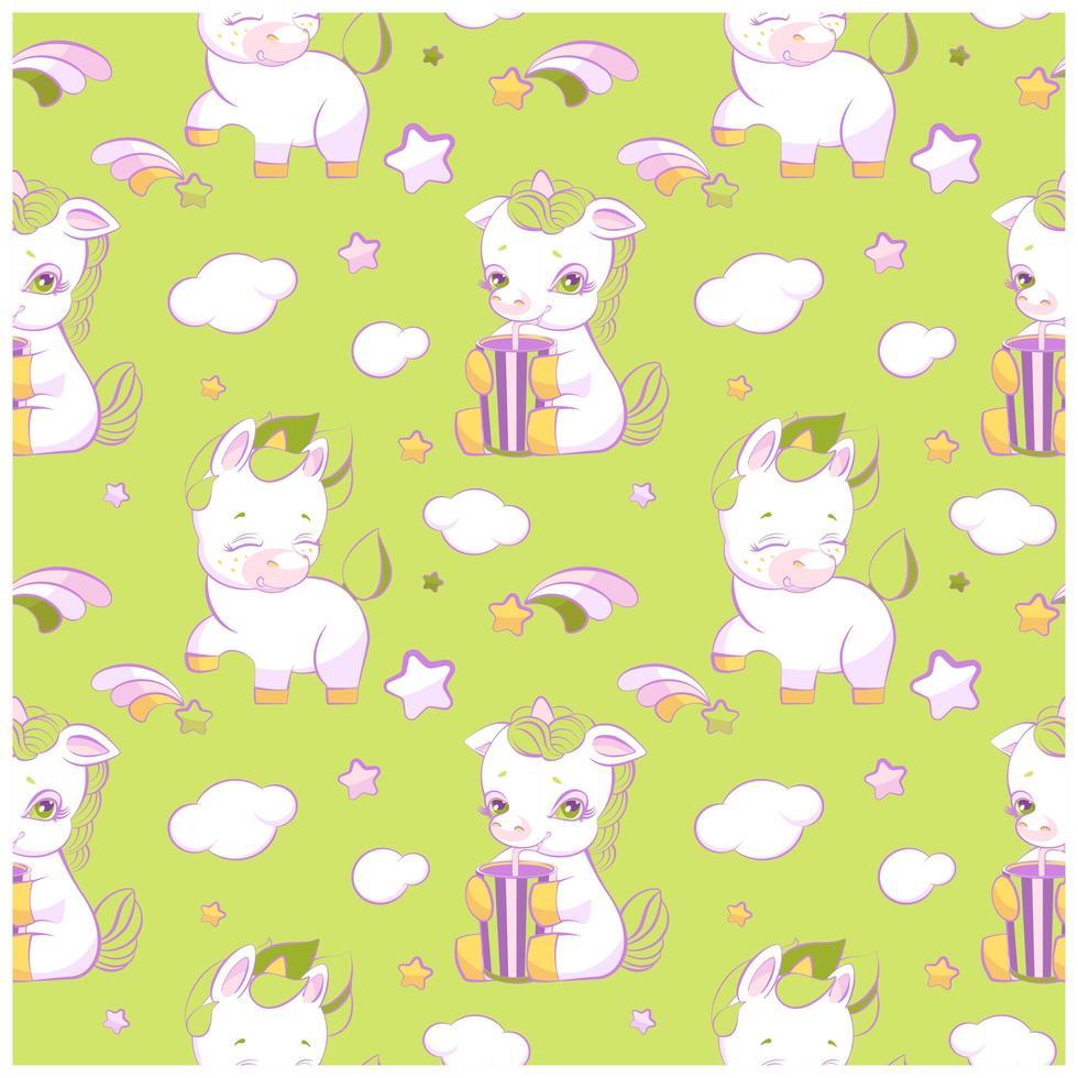 lindos unicornios verdes de patrones sin fisuras vector