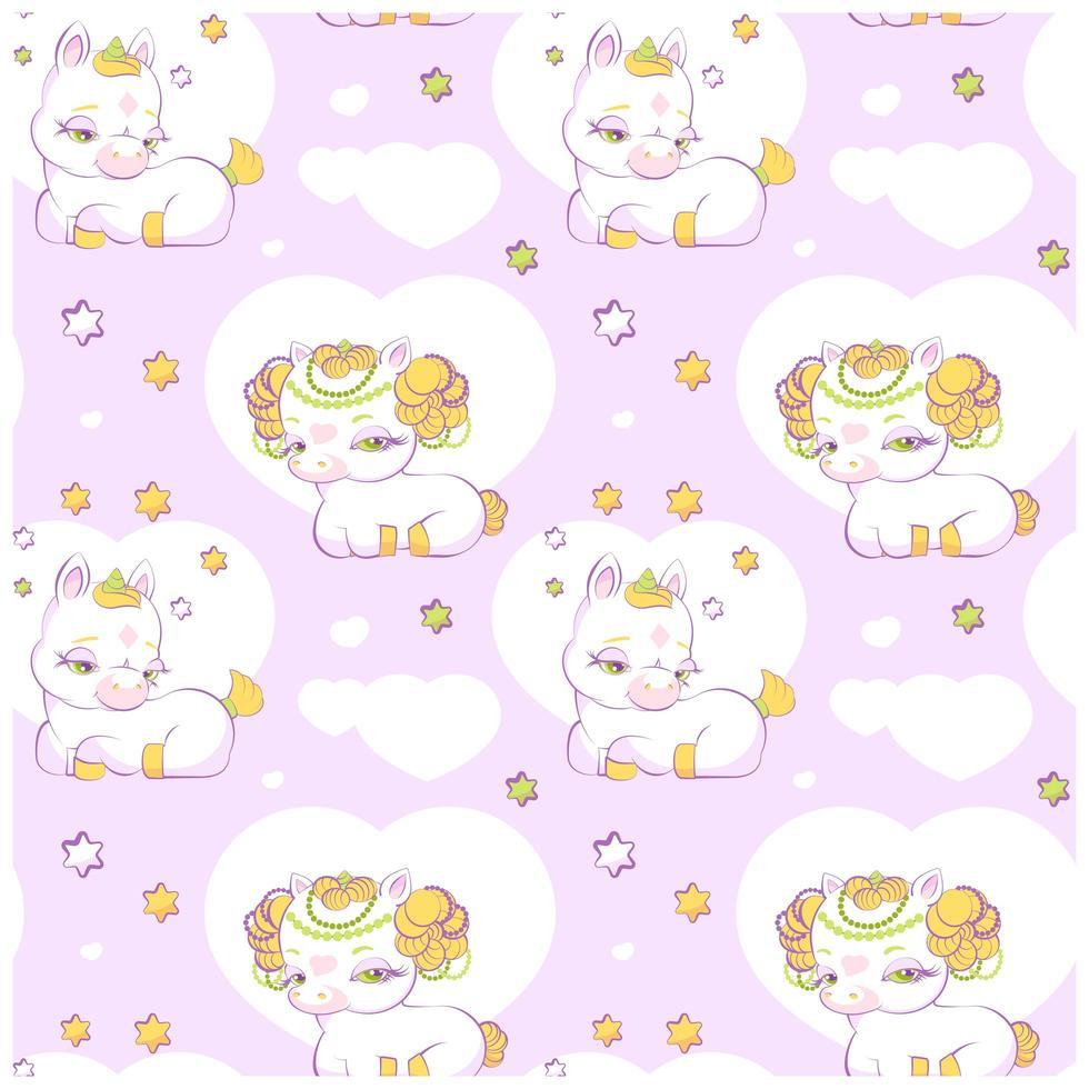 linda princesita unicornios rosa de patrones sin fisuras vector