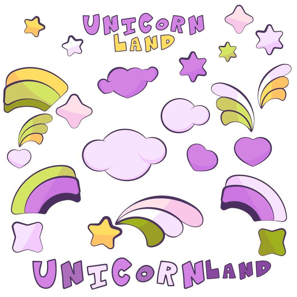 artículos de tierra de unicornio con contornos oscuros vector