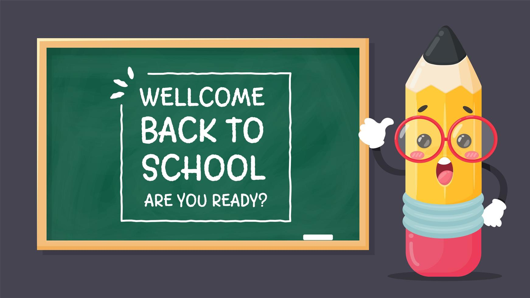 Pencil and welcome back to school blackboard vector