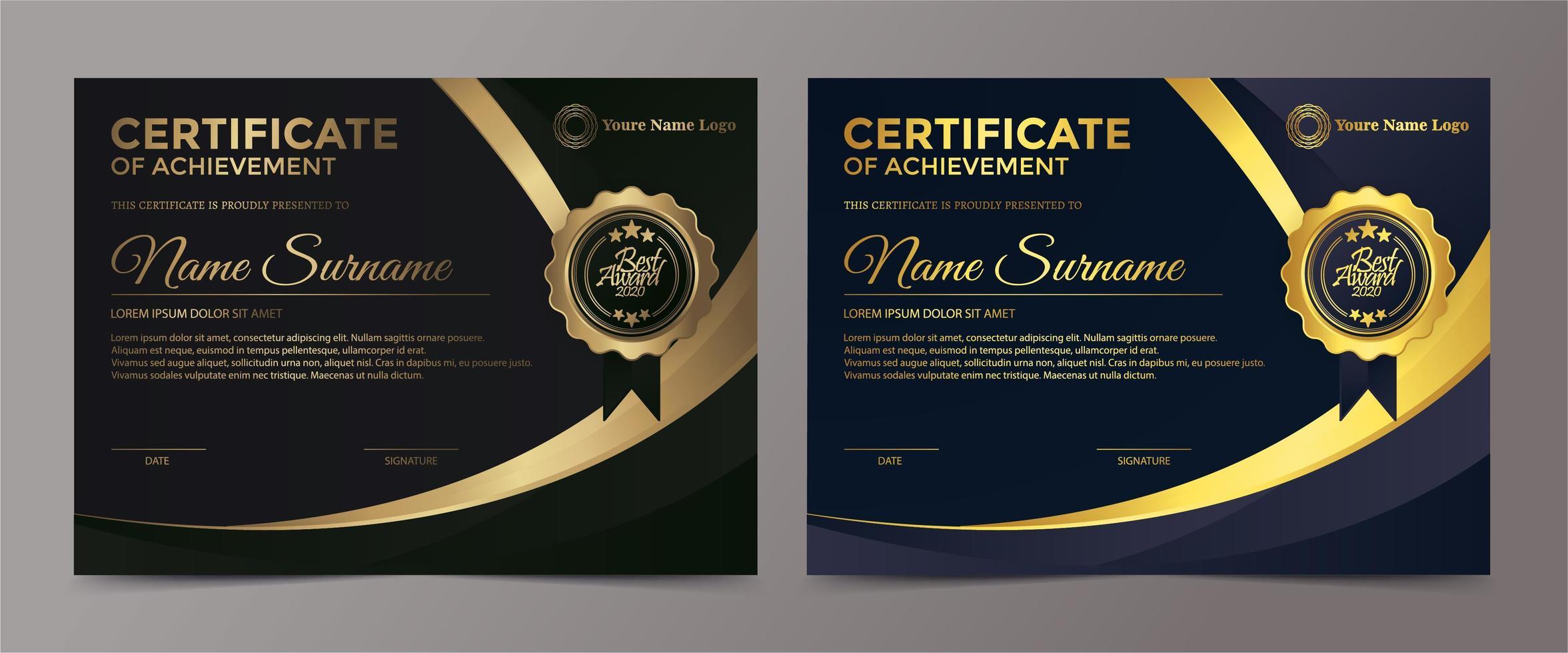 certificado premium dorado negro vector