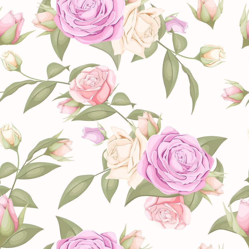 lichtroze bloemenroos naadloos patroon vector