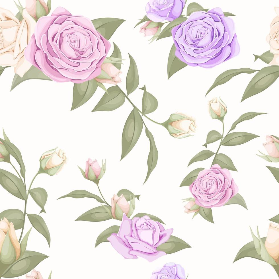 Pink and purple rose seamless pattern design vector