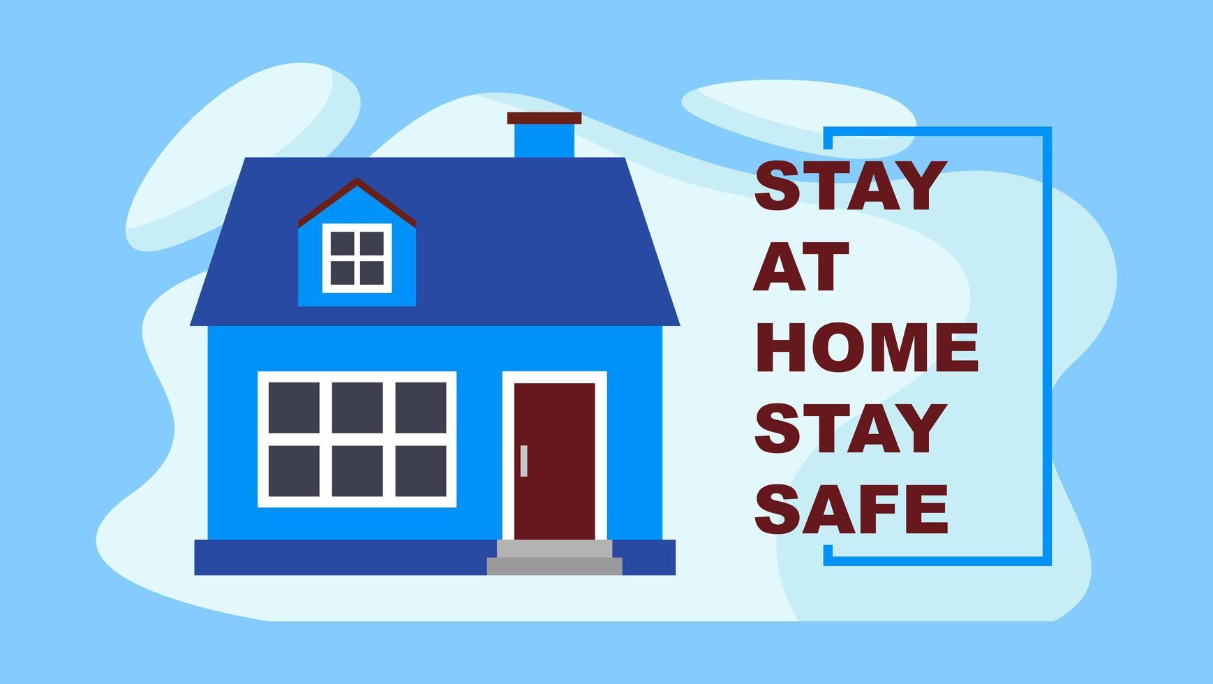 blijf thuis saay veilig blauw huisontwerp vector
