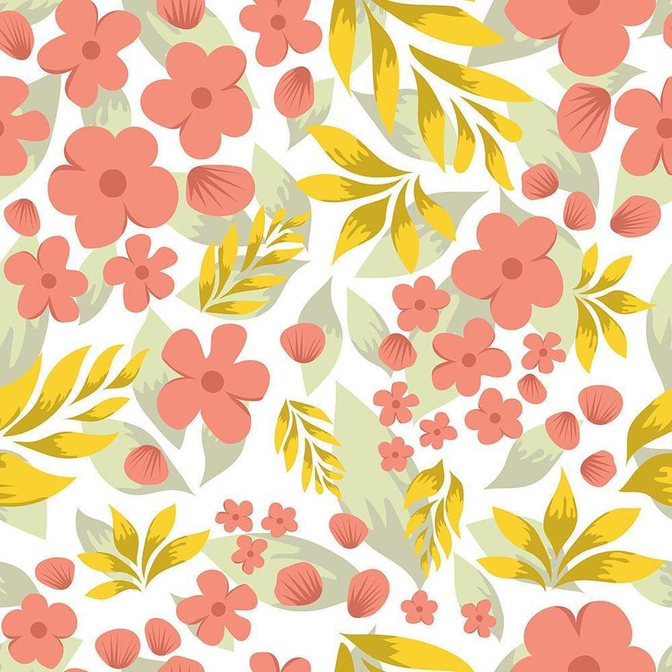 mooie platte bloemmotief achtergrond met gele bladeren vector