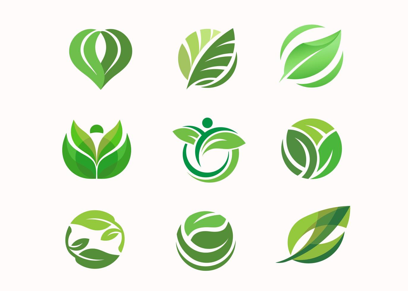 Green leaf circle collection vector