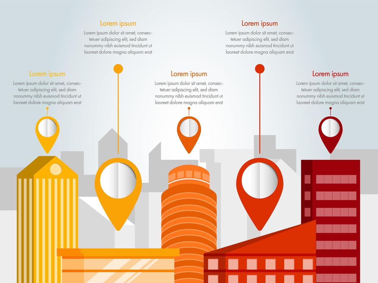 infográfico de cidade de design plano vetor