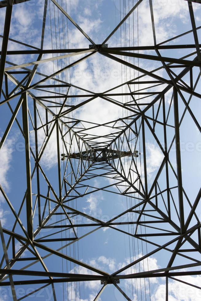 High voltage pole on blue sky background. photo