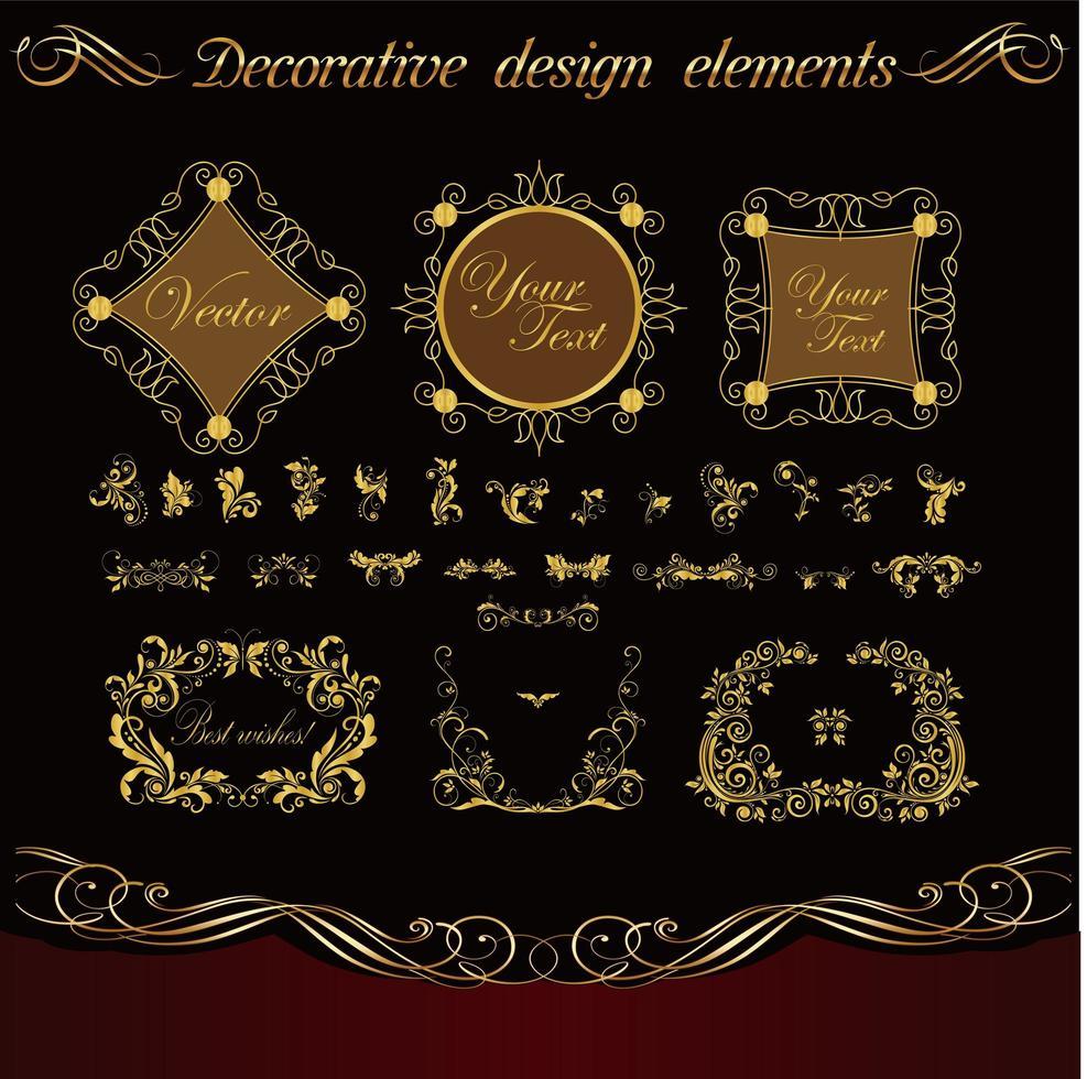 conjunto de marco decorativo cuadrado vector