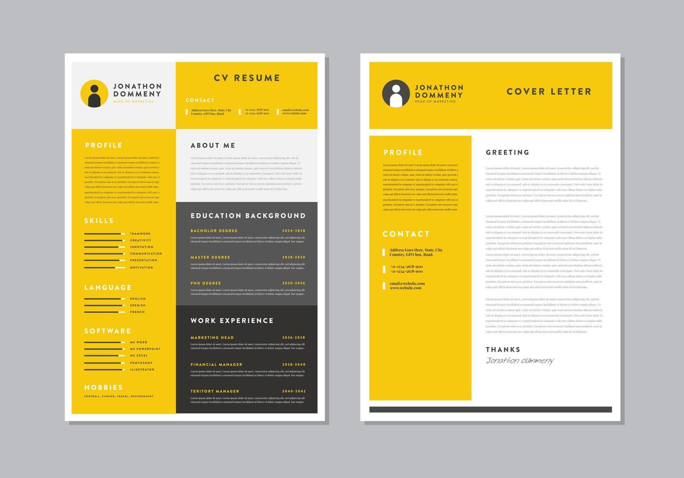 Yellow Job Resume Download Free Vectors Clipart Graphics