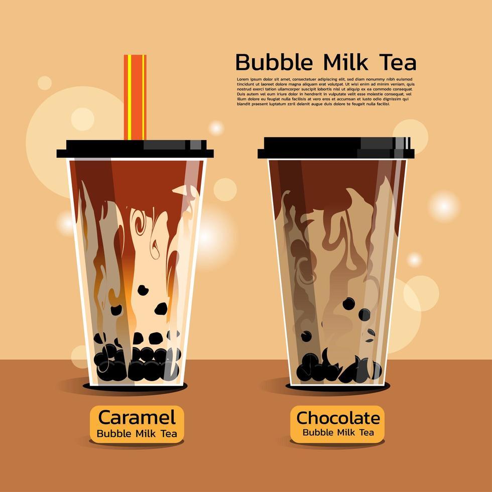 twee smaken bubbelmelk thee vector