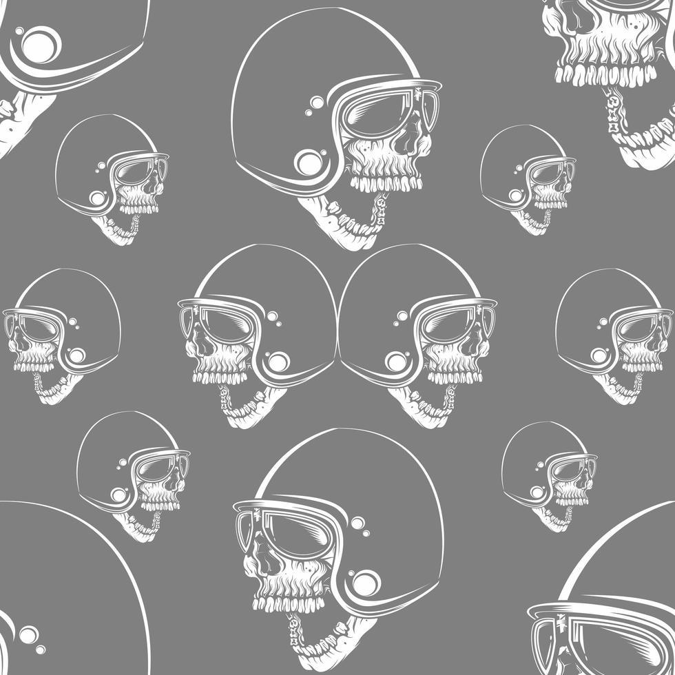 naadloos patroon met schedelfietsers die retro helm dragen vector