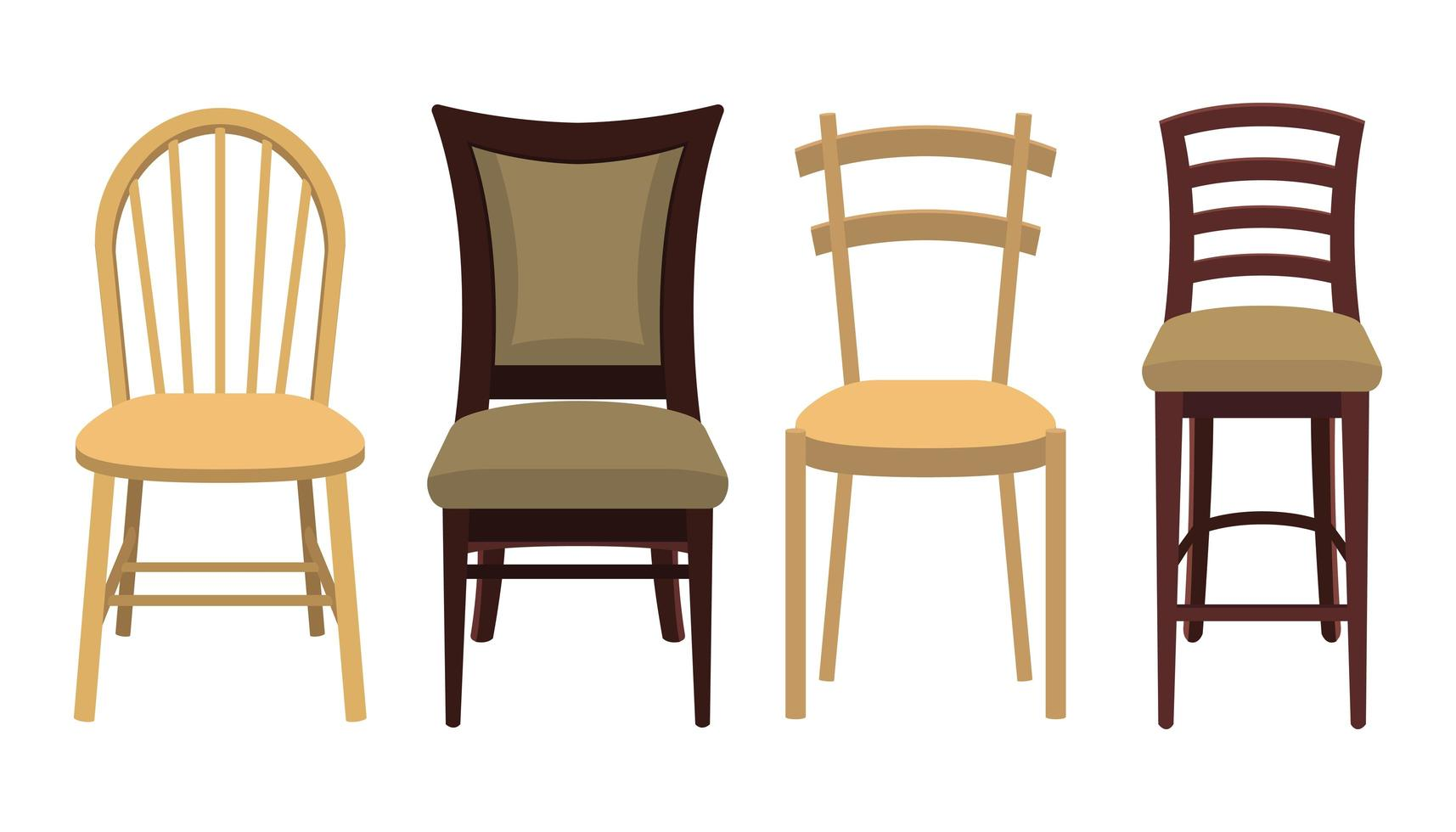 Wood Chairs on White vector