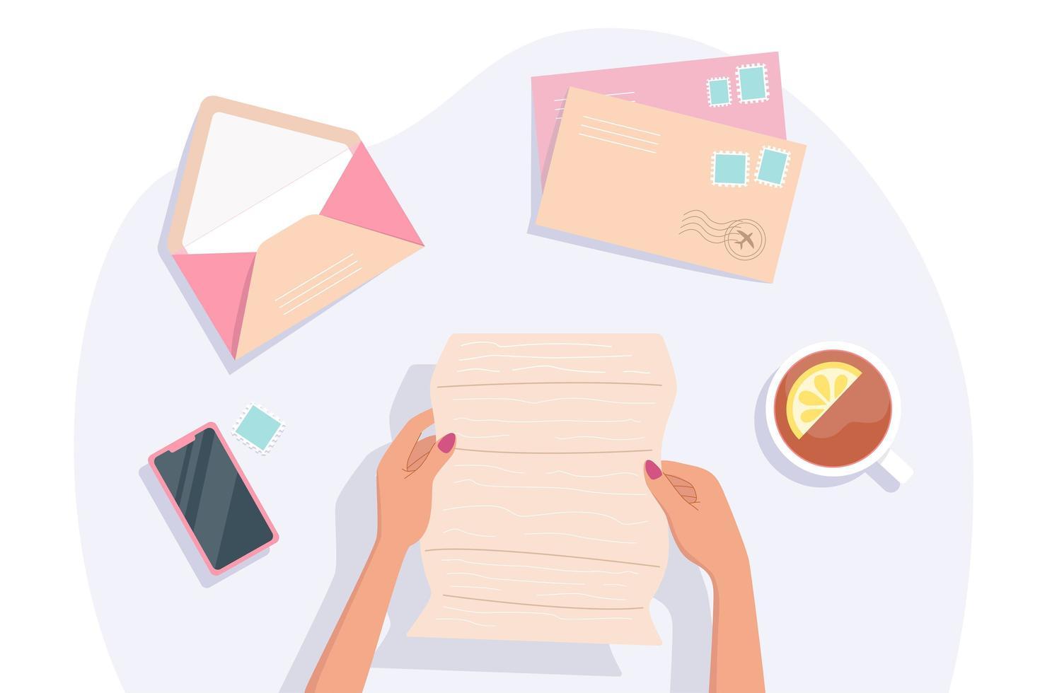 mãos de mulher segurando e lendo uma carta vetor