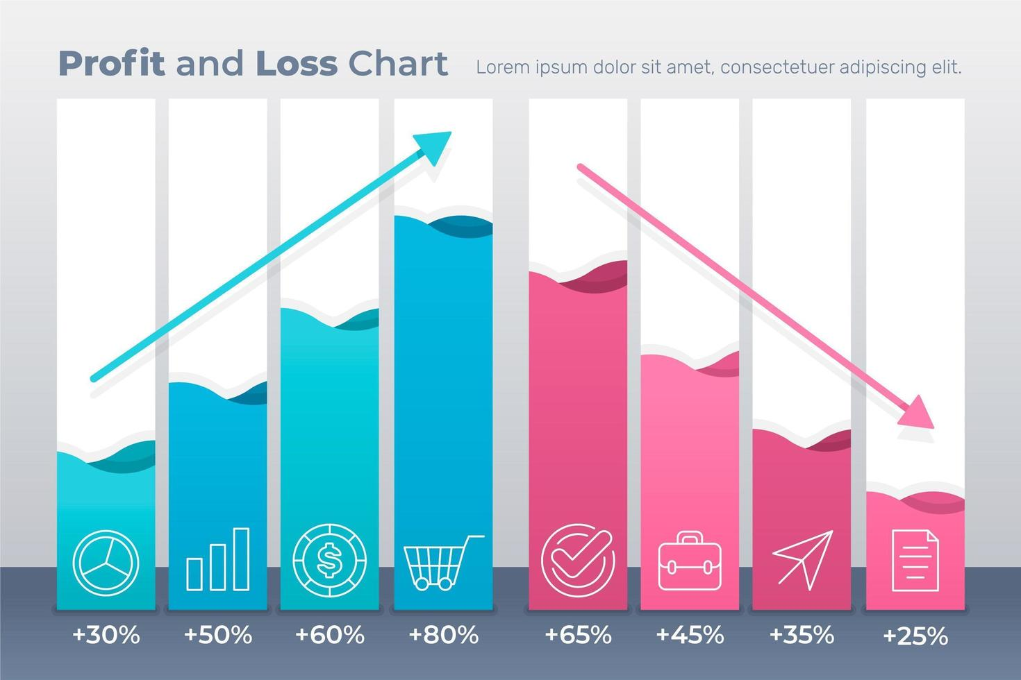 infographics sjabloon voor winst en verlies vector